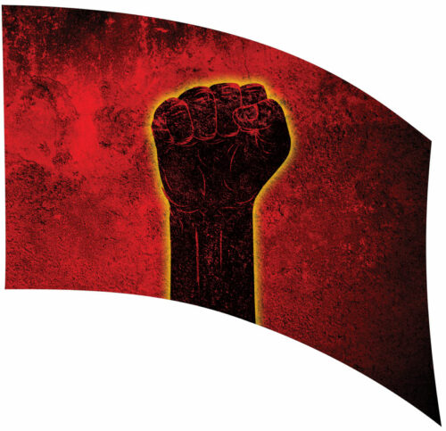 fist rise up Justice riot red black
